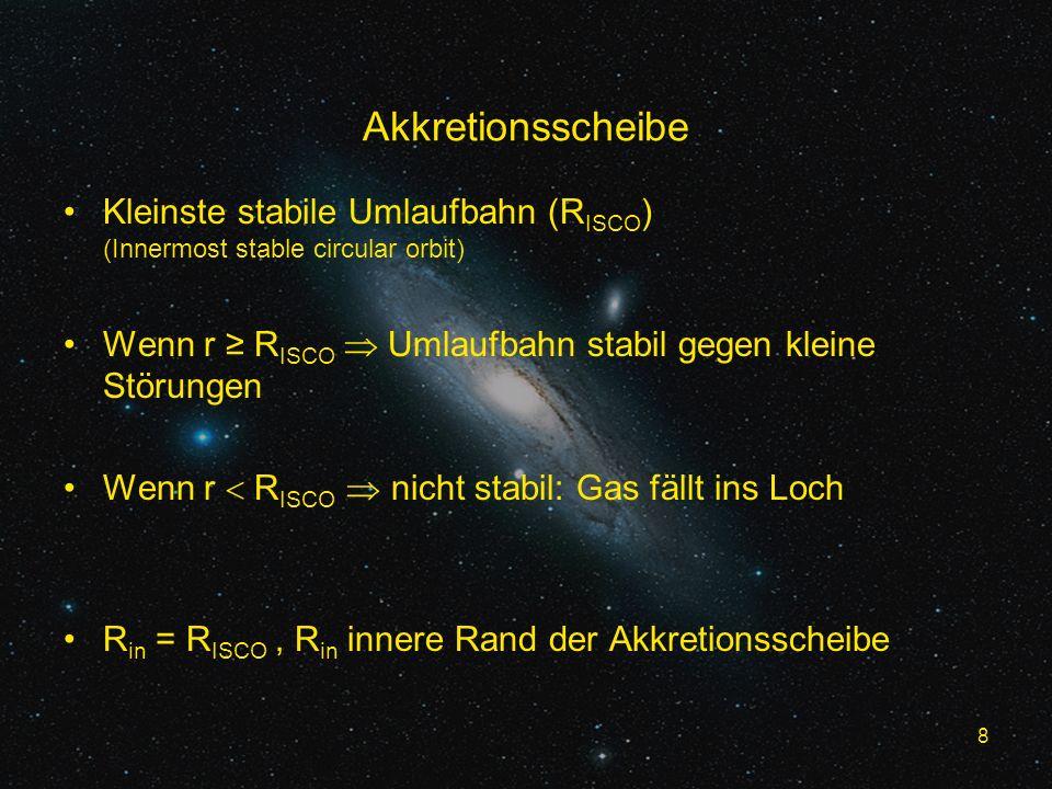 8 Akkretionsscheibe Kleinste stabile Umlaufbahn (R ISCO ) (Innermost stable circular orbit) Wenn r R ISCO Umlaufbahn stabil gegen kleine Störungen Wenn r R ISCO nicht stabil: Gas fällt ins Loch R in = R ISCO, R in innere Rand der Akkretionsscheibe