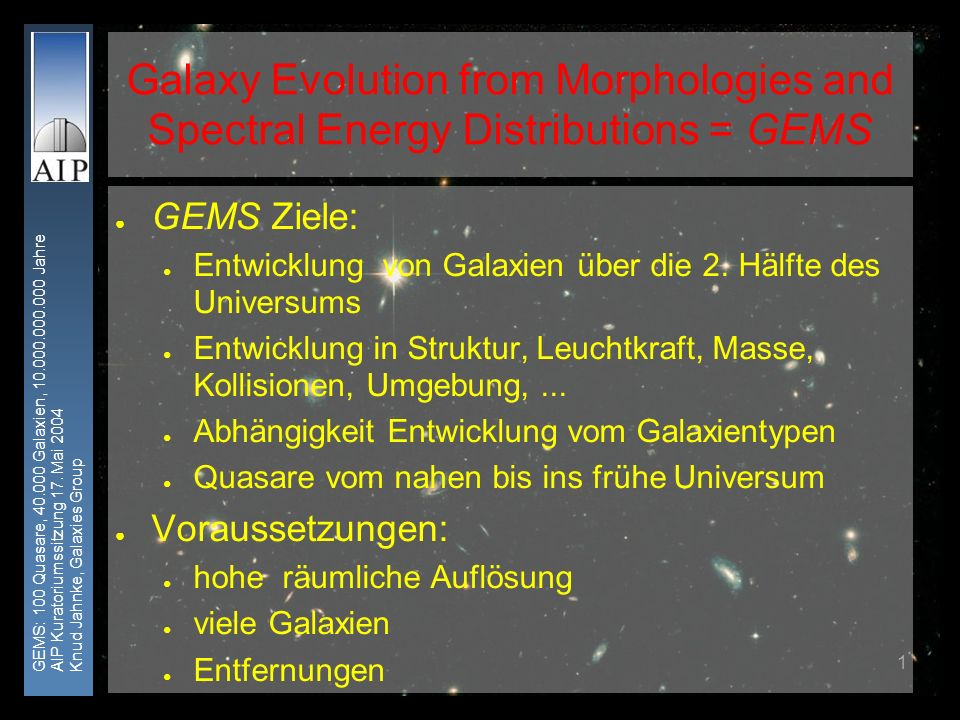 GEMS: 100 Quasare, 40.000 Galaxien, 10.000.000.000 Jahre AIP Kuratoriumssitzung 17. Mai 2004 Knud Jahnke, Galaxies Group 1 Galaxy Evolution from Morph