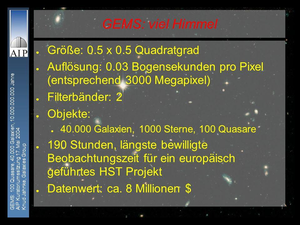 GEMS: 100 Quasare, 40.000 Galaxien, 10.000.000.000 Jahre AIP Kuratoriumssitzung 17. Mai 2004 Knud Jahnke, Galaxies Group 1 GEMS: viel Himmel Größe: 0.