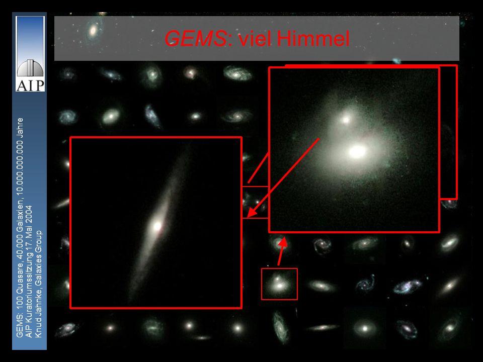 GEMS: 100 Quasare, 40.000 Galaxien, 10.000.000.000 Jahre AIP Kuratoriumssitzung 17. Mai 2004 Knud Jahnke, Galaxies Group 1 GEMS: viel Himmel