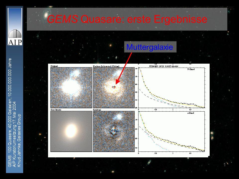 GEMS: 100 Quasare, 40.000 Galaxien, 10.000.000.000 Jahre AIP Kuratoriumssitzung 17. Mai 2004 Knud Jahnke, Galaxies Group 1 GEMS Quasare: erste Ergebni