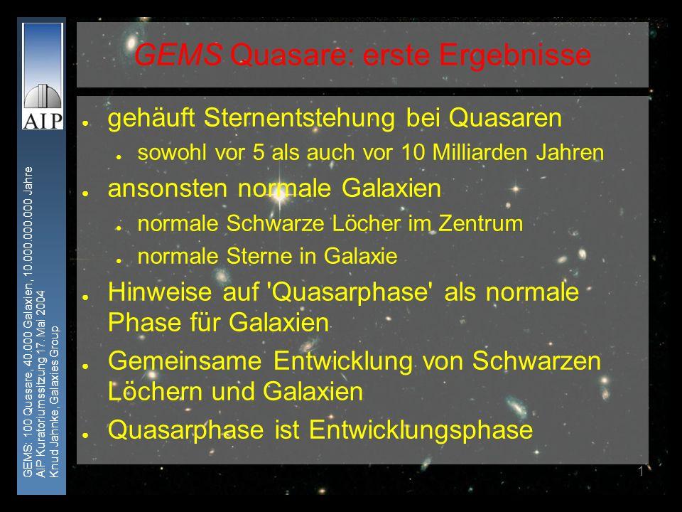 GEMS: 100 Quasare, 40.000 Galaxien, 10.000.000.000 Jahre AIP Kuratoriumssitzung 17. Mai 2004 Knud Jahnke, Galaxies Group 1 gehäuft Sternentstehung bei