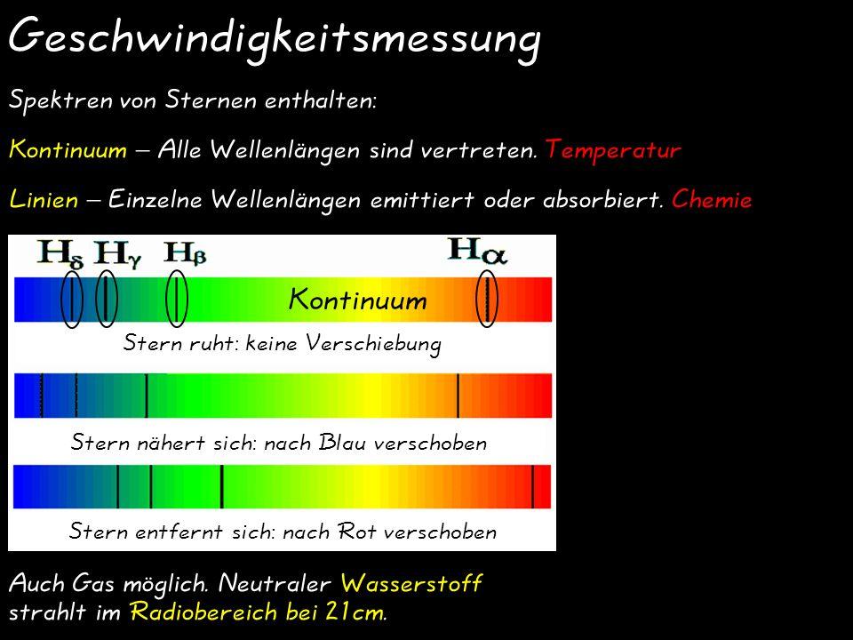 Geschwindigkeitsmessung Stern ruht: keine Verschiebung Stern nähert sich: nach Blau verschoben Stern entfernt sich: nach Rot verschoben Spektren von Sternen enthalten: Kontinuum – Alle Wellenlängen sind vertreten.