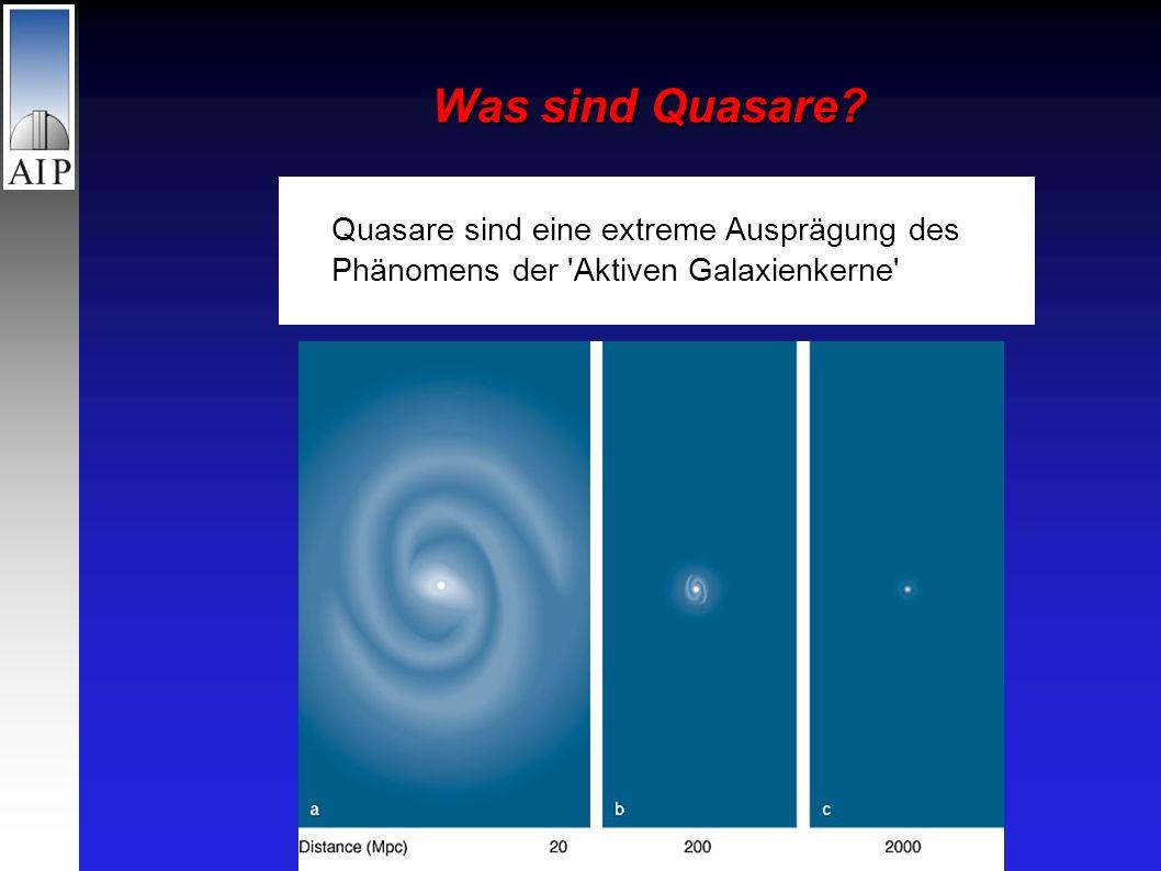 Was sind Quasare Quasare sind eine extreme Ausprägung des Phänomens der Aktiven Galaxienkerne