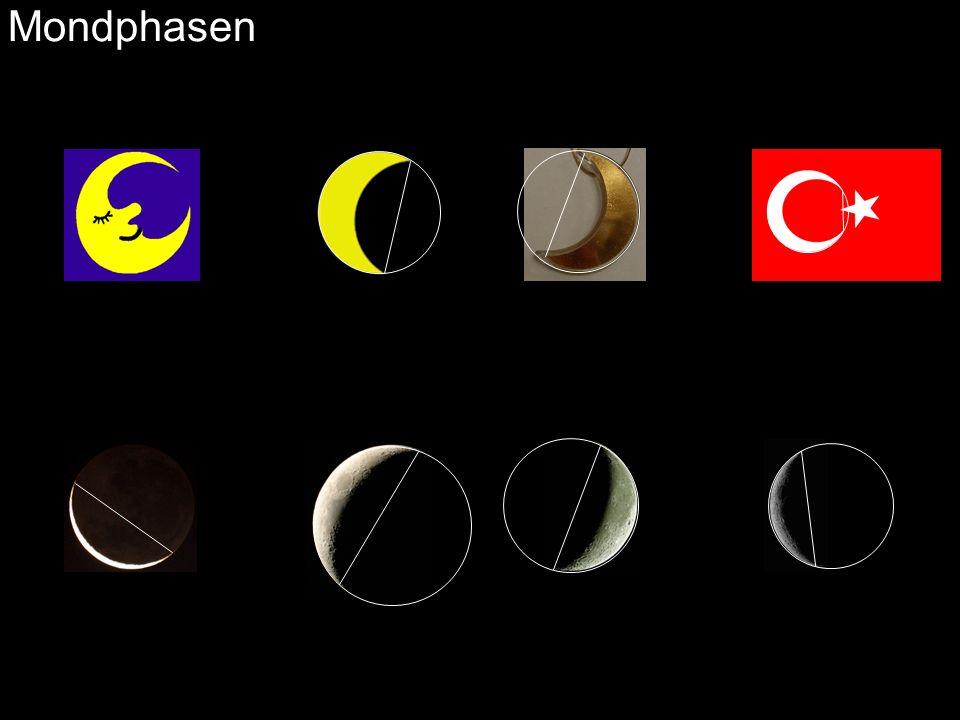 zunehmender Mond: abnehmender Mond: Aufgang vor Sonnenaufgang Aufgang nach Sonnenaufgang Untergang vor Sonnenuntergang Untergang nach Sonnenuntergang Die Mondphasen entstehen durch verschiedene Blickwinkel auf die beleuchtete Seite des Mondes.