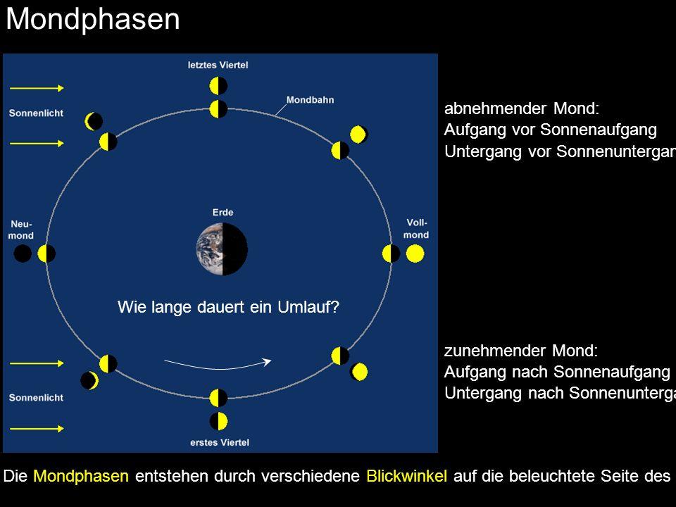 Mondphasen 27,32 Tage 29,53 Tage Nach 27,32 Tagen kehrt der Mond an dieselbe Stelle am Himmel zurück (siderischer Monat).