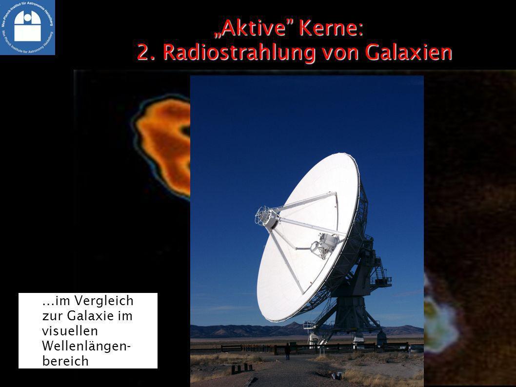 Aktive Kerne: 2. Radiostrahlung von GalaxienAktive Kerne: 2. Radiostrahlung von Galaxien Radiostrahlung als sehr große Struktur......im Vergleich zur