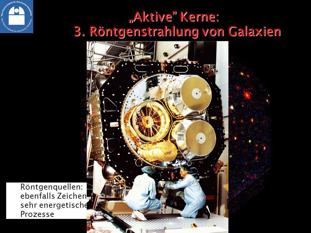 Aktive Kerne: 3. Röntgenstrahlung von GalaxienAktive Kerne: 3. Röntgenstrahlung von Galaxien Röntgenquellen: ebenfalls Zeichen sehr energetischer Proz