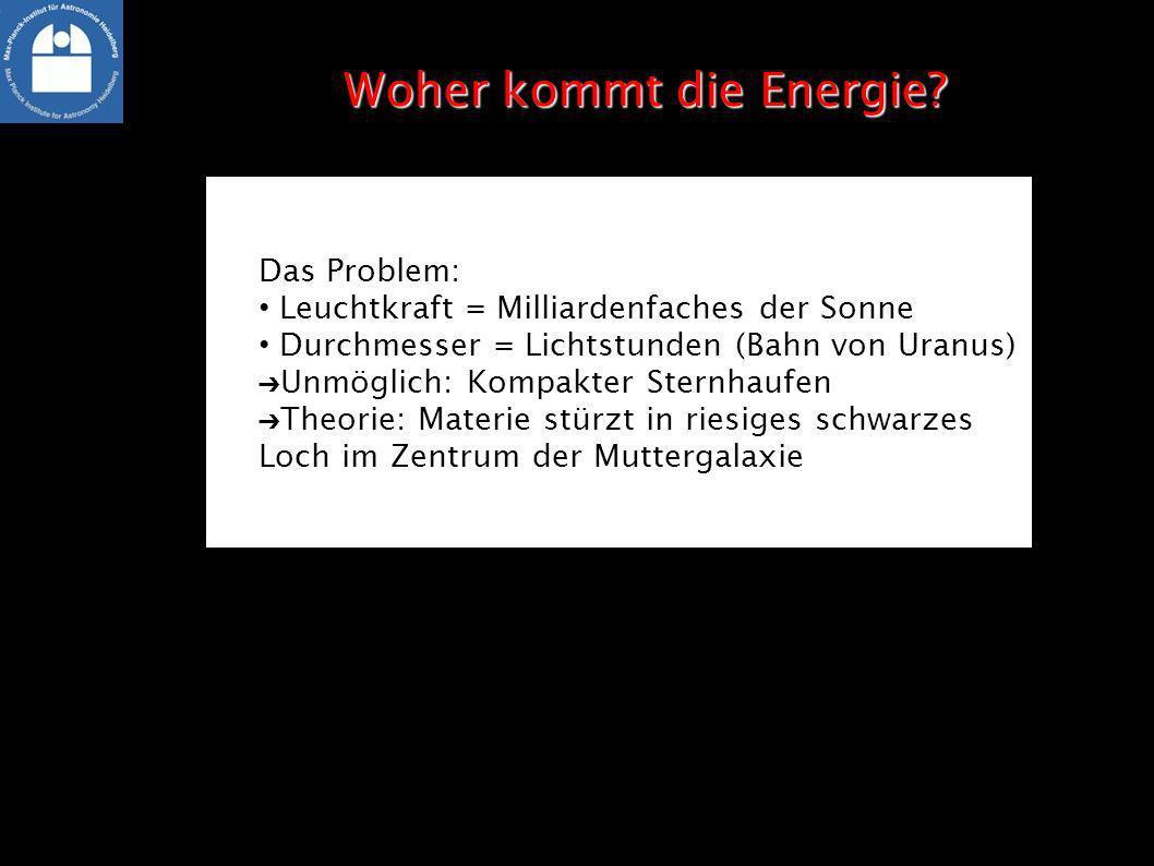 Das Problem: Leuchtkraft = Milliardenfaches der Sonne Durchmesser = Lichtstunden (Bahn von Uranus) Unmöglich: Kompakter Sternhaufen Theorie: Materie s