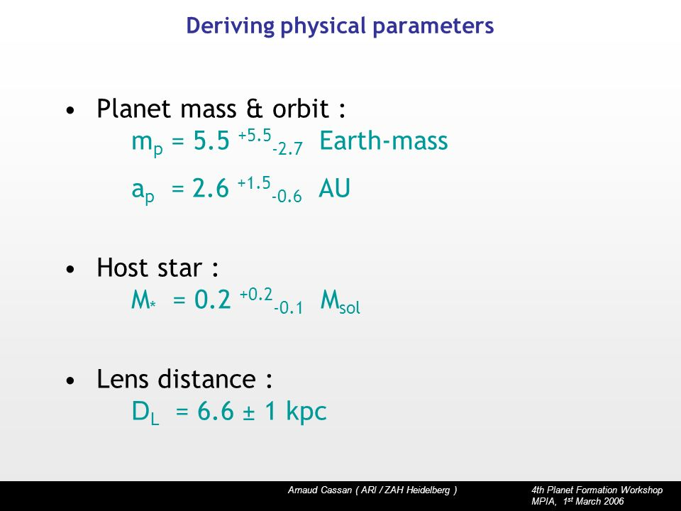 Arnaud Cassan ( ARI / ZAH Heidelberg ) 4th Planet Formation Workshop MPIA, 1 st March 2006 Deriving physical parameters Planet mass & orbit : m p = Earth-mass a p = AU Host star : M * = M sol Lens distance : D L = 6.6 ± 1 kpc