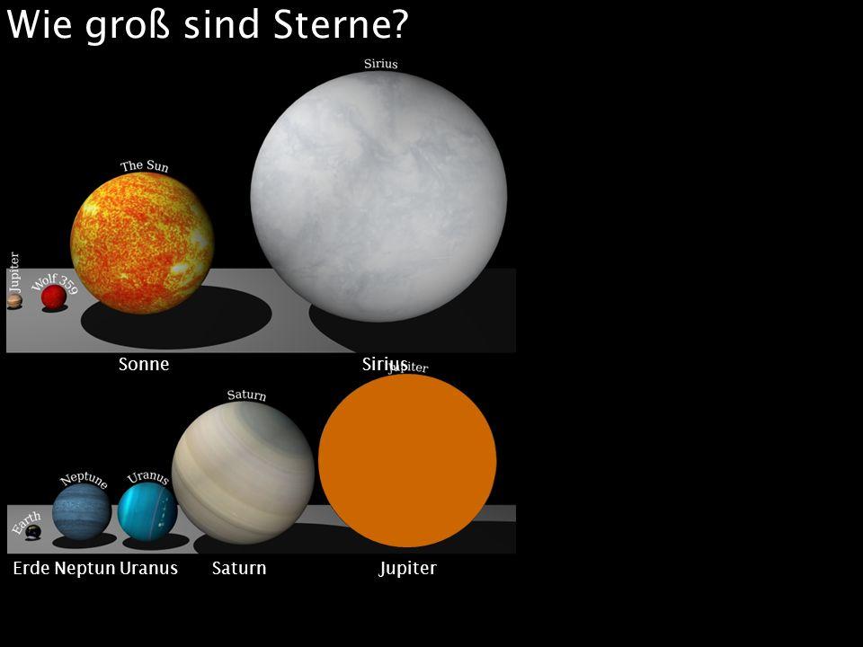 Wie groß sind Sterne? Merkur Mars Venus Erde Erde Neptun Uranus Saturn Jupiter Sonne Sirius