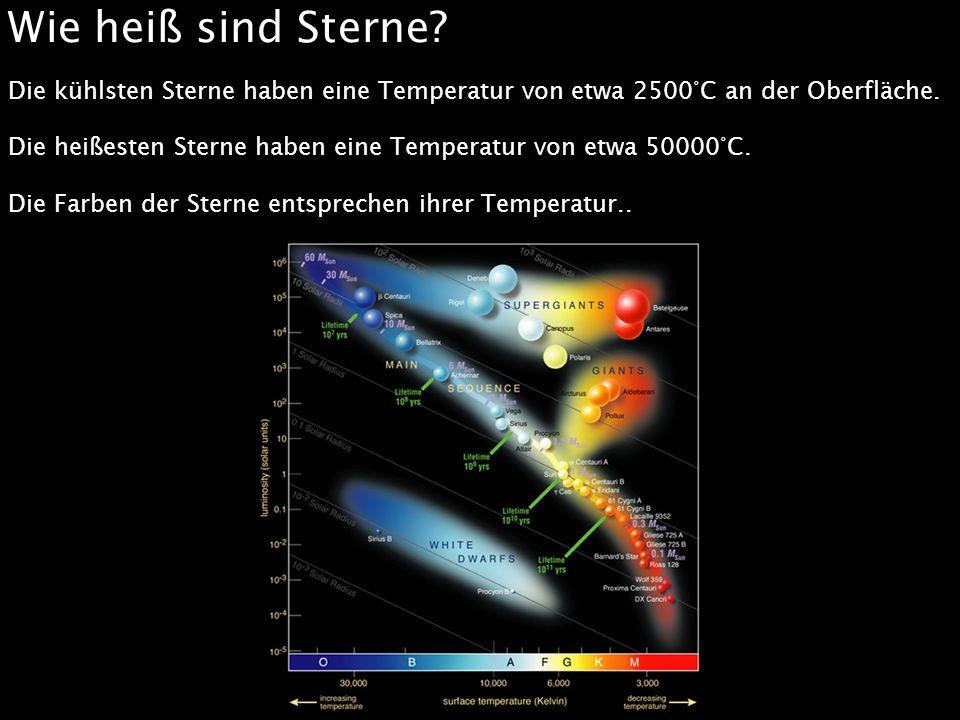 Wie heiß sind Sterne? Die kühlsten Sterne haben eine Temperatur von etwa 2500°C an der Oberfläche. Die heißesten Sterne haben eine Temperatur von etwa