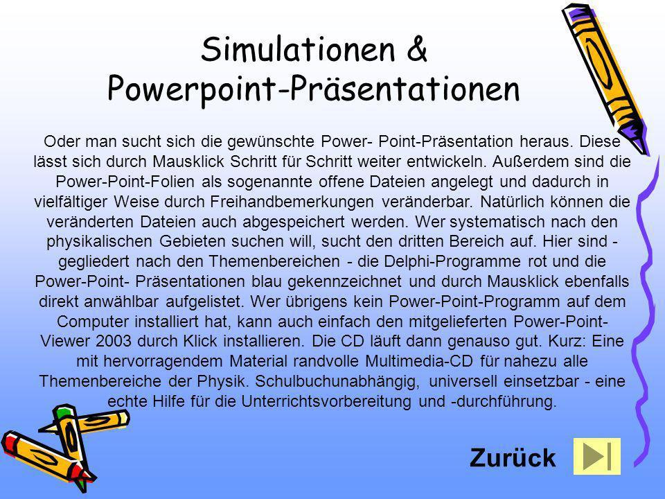 Oder man sucht sich die gewünschte Power- Point-Präsentation heraus. Diese lässt sich durch Mausklick Schritt für Schritt weiter entwickeln. Außerdem