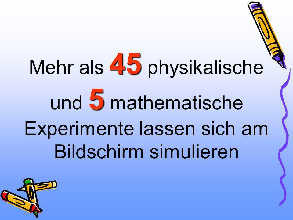 45 5 Mehr als 45 physikalische und 5 mathematische Experimente lassen sich am Bildschirm simulieren