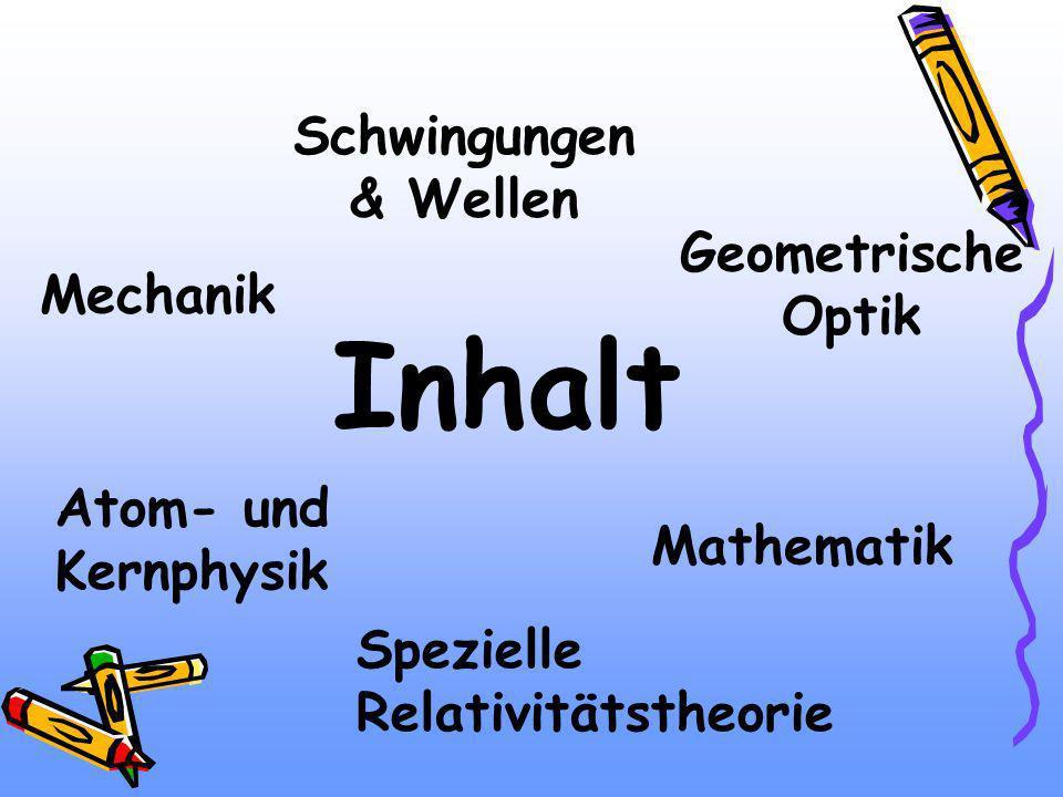 Inhalt Mechanik Schwingungen & Wellen Atom- und Kernphysik Spezielle Relativitätstheorie Geometrische Optik Mathematik