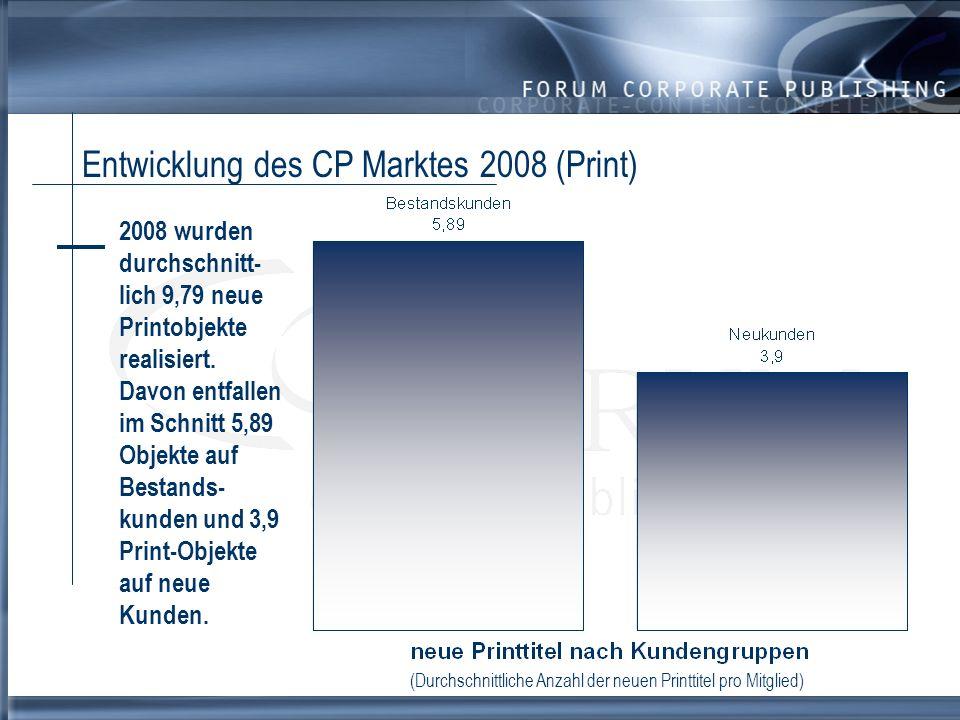 Entwicklung des CP Marktes 2008 (Non-Print) 2008 wurden durchschnittlich pro Befragtem 9,35 neue E-Publishing Projekte realisiert.