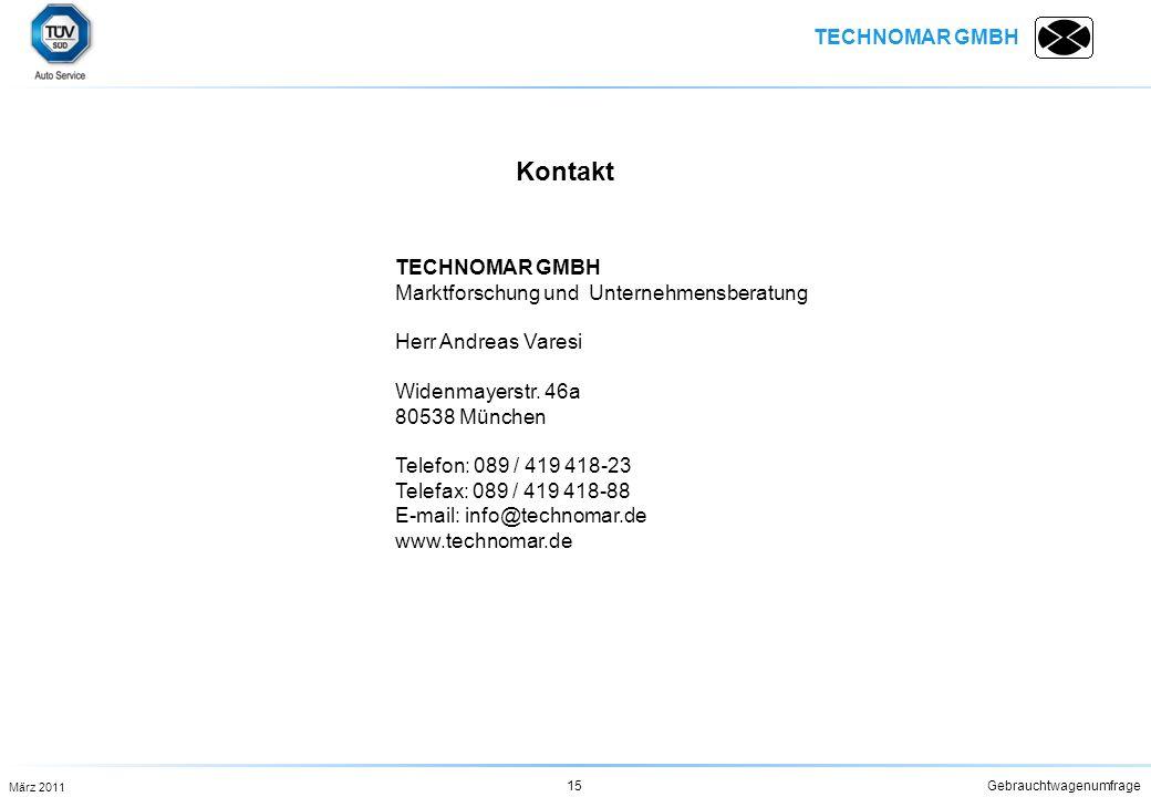 TECHNOMAR GMBH Gebrauchtwagenumfrage15 TECHNOMAR GMBH Marktforschung und Unternehmensberatung Herr Andreas Varesi Widenmayerstr. 46a 80538 München Tel
