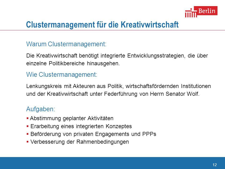 12 Clustermanagement für die Kreativwirtschaft Warum Clustermanagement: Die Kreativwirtschaft benötigt integrierte Entwicklungsstrategien, die über ei