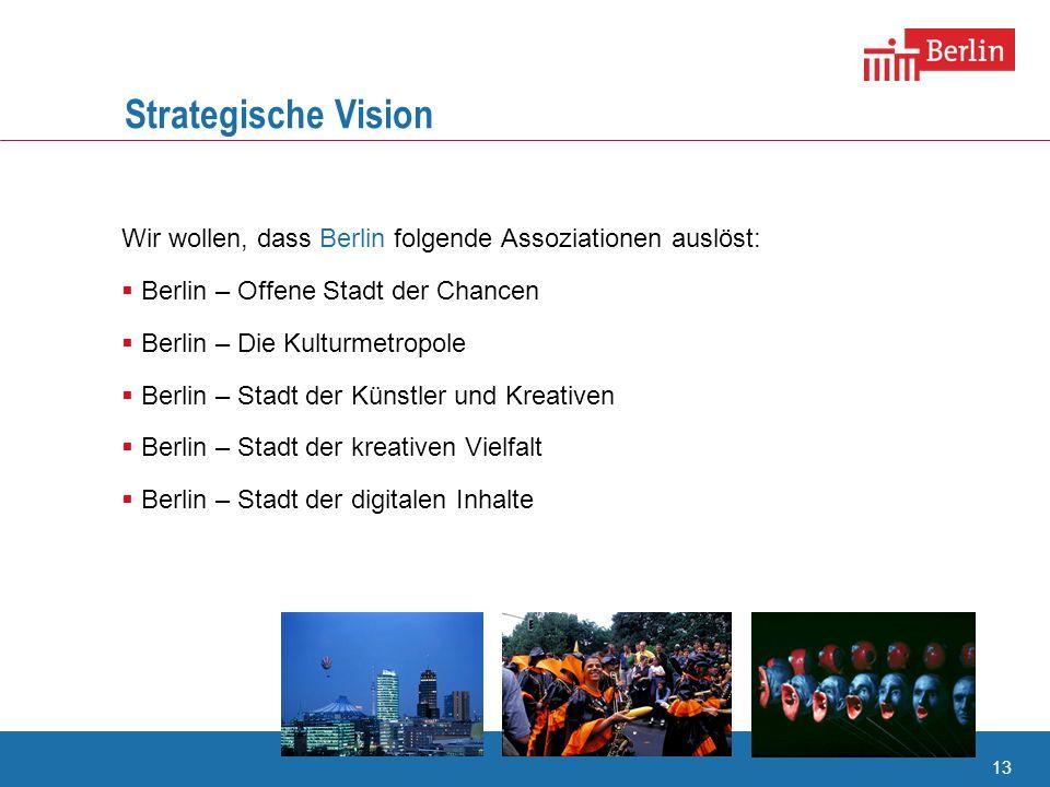 13 Strategische Vision Wir wollen, dass Berlin folgende Assoziationen auslöst: Berlin – Offene Stadt der Chancen Berlin – Die Kulturmetropole Berlin –