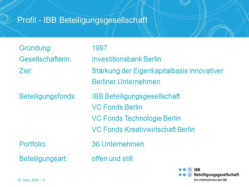 19. März 2008 | 17 Profil - IBB Beteiligungsgesellschaft Gründung:1997 Gesellschafterin:Investitionsbank Berlin Ziel:Stärkung der Eigenkapitalbasis in