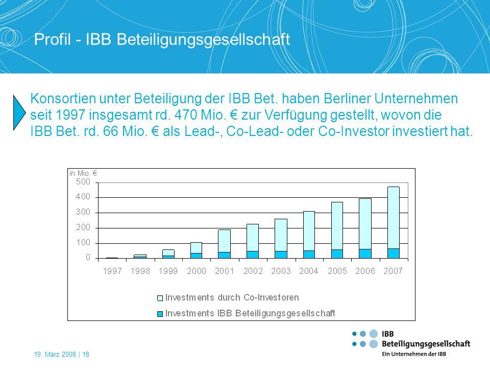 19. März 2008 | 18 Profil - IBB Beteiligungsgesellschaft Konsortien unter Beteiligung der IBB Bet. haben Berliner Unternehmen seit 1997 insgesamt rd.