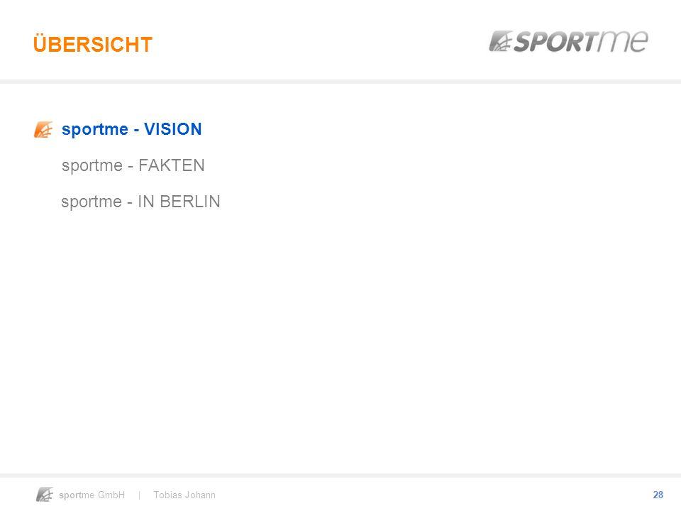 sportme GmbH | Tobias Johann 28 ÜBERSICHT sportme - VISION sportme - FAKTEN sportme - IN BERLIN