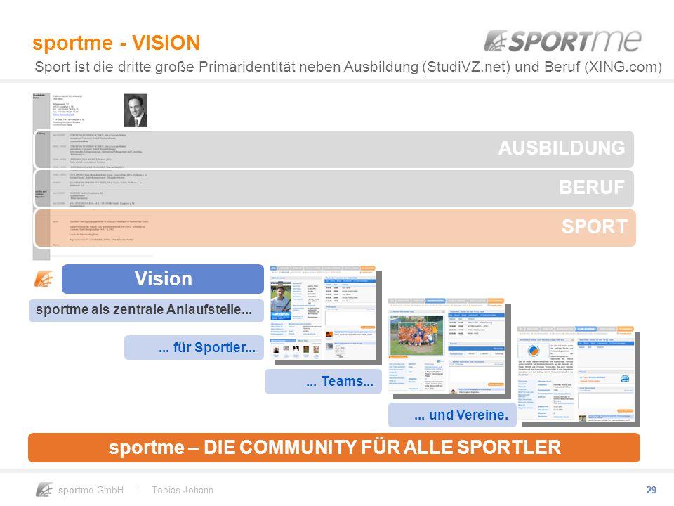 sportme GmbH | Tobias Johann 29 sportme - VISION Sport ist die dritte große Primäridentität neben Ausbildung (StudiVZ.net) und Beruf (XING.com) sportm