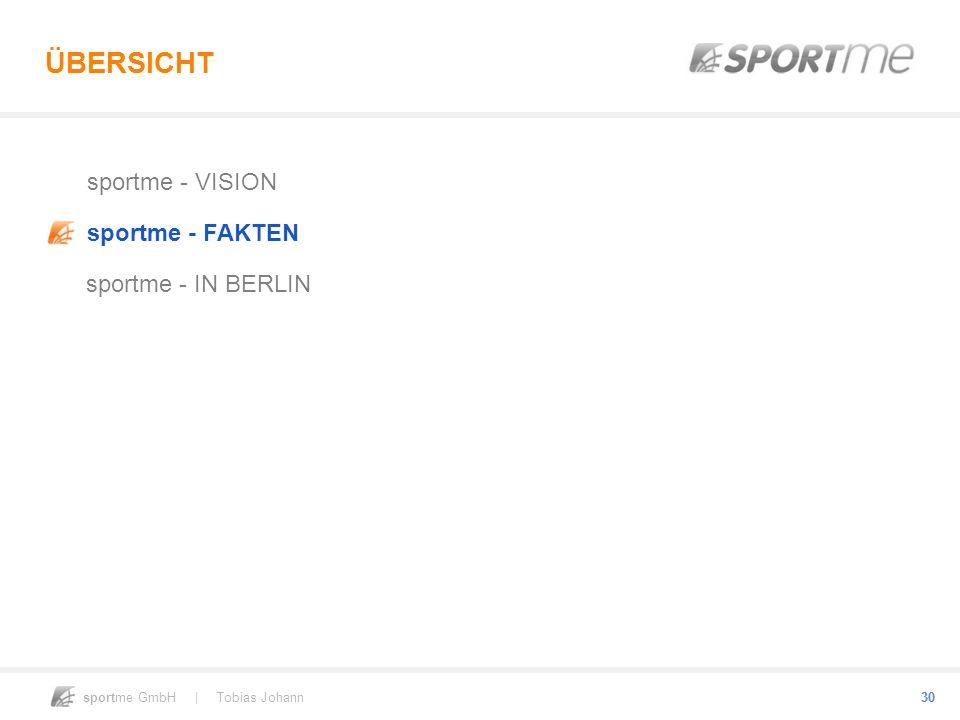 sportme GmbH | Tobias Johann 30 ÜBERSICHT sportme - VISION sportme - FAKTEN sportme - IN BERLIN