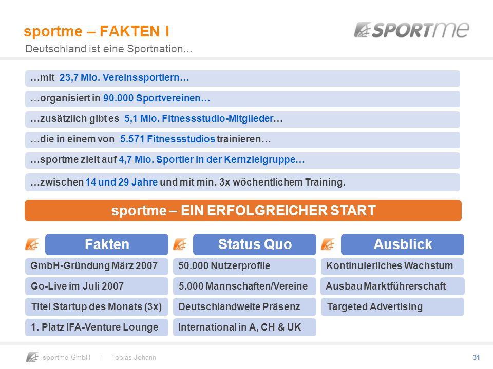 sportme GmbH | Tobias Johann 31 GmbH-Gründung März 2007 31 sportme – FAKTEN I Deutschland ist eine Sportnation... Go-Live im Juli 2007 Fakten Titel St
