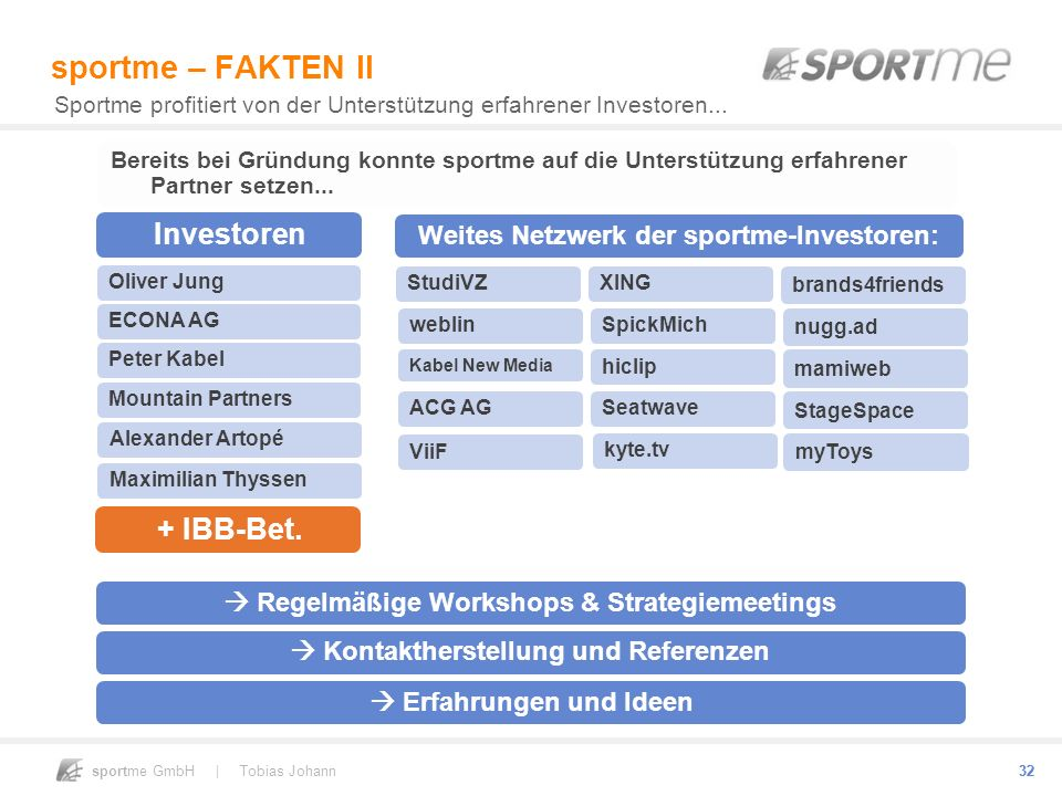 sportme GmbH | Tobias Johann 32 sportme – FAKTEN II Sportme profitiert von der Unterstützung erfahrener Investoren... StudiVZXING brands4friends webli