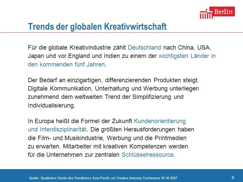 6 Trends der globalen Kreativwirtschaft Für die globale Kreativindustrie zählt Deutschland nach China, USA, Japan und vor England und Indien zu einem