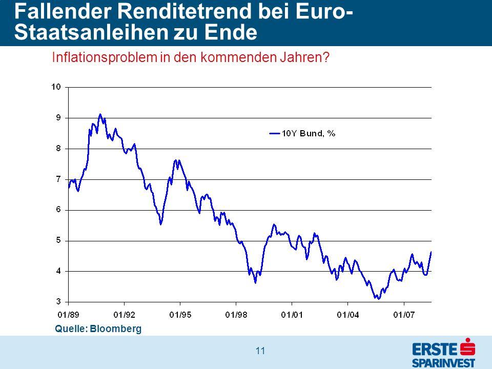 11 Fallender Renditetrend bei Euro- Staatsanleihen zu Ende Quelle: Bloomberg Inflationsproblem in den kommenden Jahren?