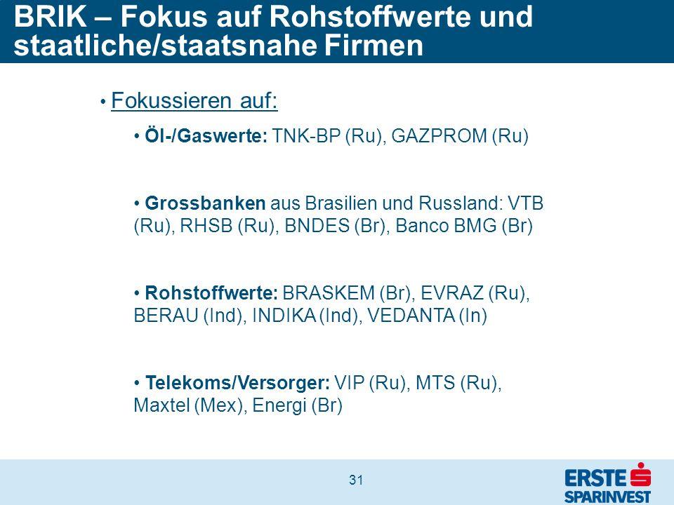 31 BRIK – Fokus auf Rohstoffwerte und staatliche/staatsnahe Firmen Fokussieren auf: Öl-/Gaswerte: TNK-BP (Ru), GAZPROM (Ru) Grossbanken aus Brasilien