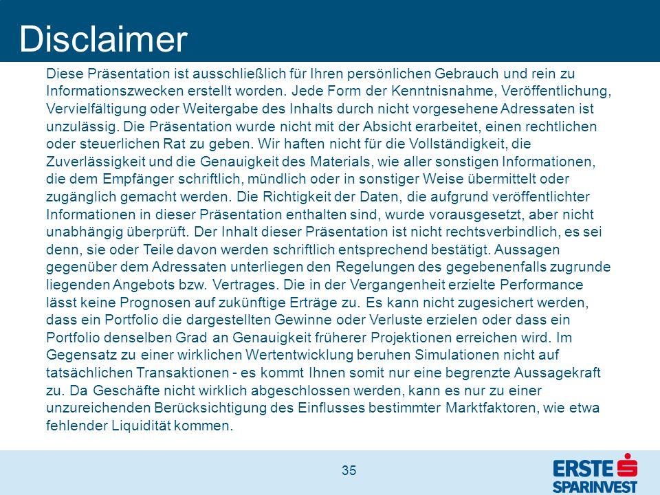 35 Disclaimer Diese Präsentation ist ausschließlich für Ihren persönlichen Gebrauch und rein zu Informationszwecken erstellt worden. Jede Form der Ken