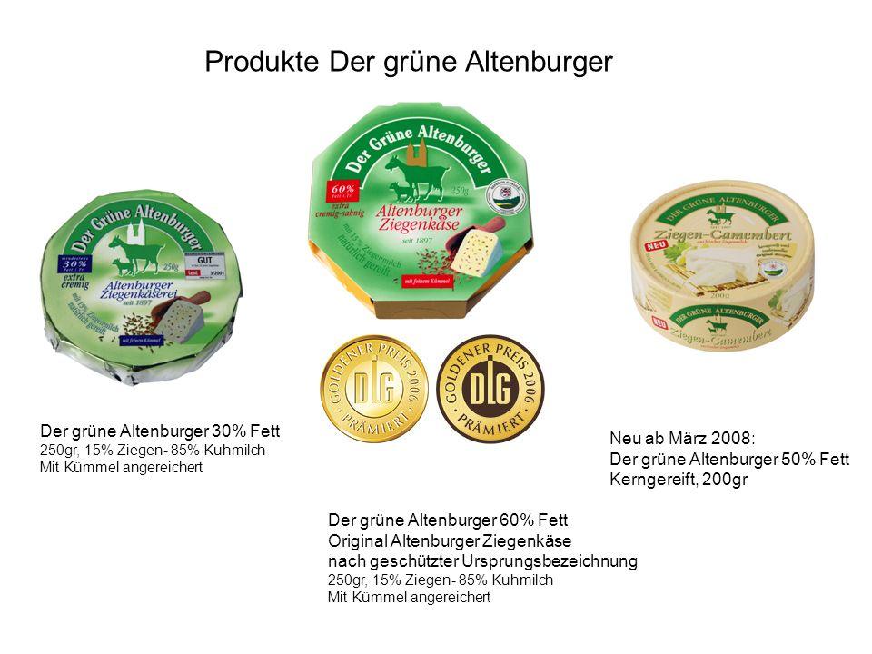Produkte Der grüne Altenburger Der grüne Altenburger 30% Fett 250gr, 15% Ziegen- 85% Kuhmilch Mit Kümmel angereichert Der grüne Altenburger 60% Fett O