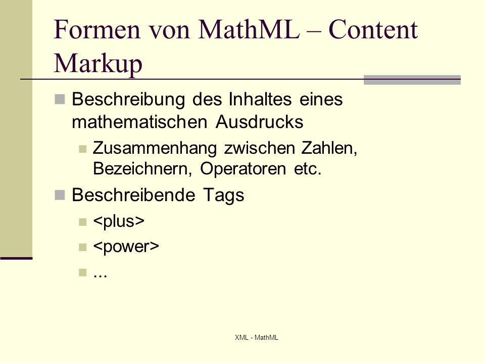 Beispiel - Content Markup a b 2 XML - MathML (a + b)²