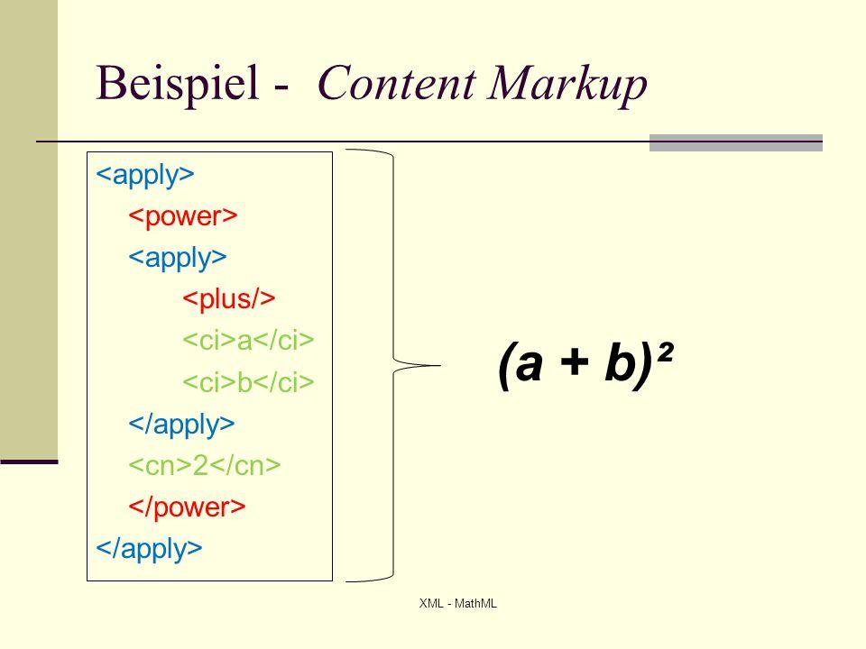 Formen von MathML – Presentation Markup Darstellung von mathematischen Ausdrücken Tags haben alle das Präfix m Unterteilung in horizontale Blöcke Beschreibende Tags (Operatoren) (Variablen) (Zahlen) XML - MathML