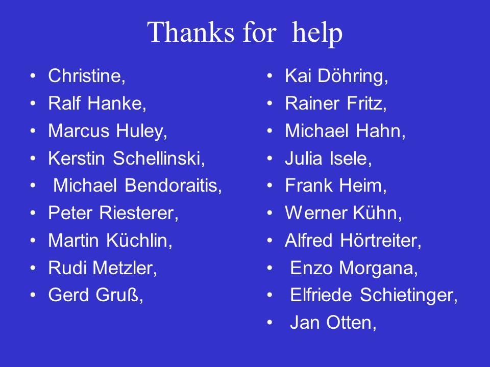 Thanks for help Christine, Ralf Hanke, Marcus Huley, Kerstin Schellinski, Michael Bendoraitis, Peter Riesterer, Martin Küchlin, Rudi Metzler, Gerd Gruß, Kai Döhring, Rainer Fritz, Michael Hahn, Julia Isele, Frank Heim, Werner Kühn, Alfred Hörtreiter, Enzo Morgana, Elfriede Schietinger, Jan Otten,