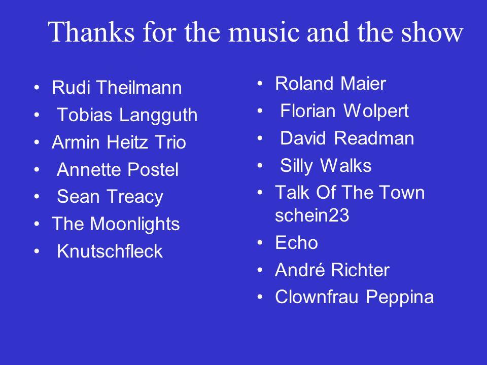 Thanks for help Sascha Oehm, Peter Ehrmann, Anne Jerbic, Ingrid Franke, Elke Wiedemann, Barbara Fraß, Rosi Kübler, Marlies Wollasch, Bernd Luda, Poliz