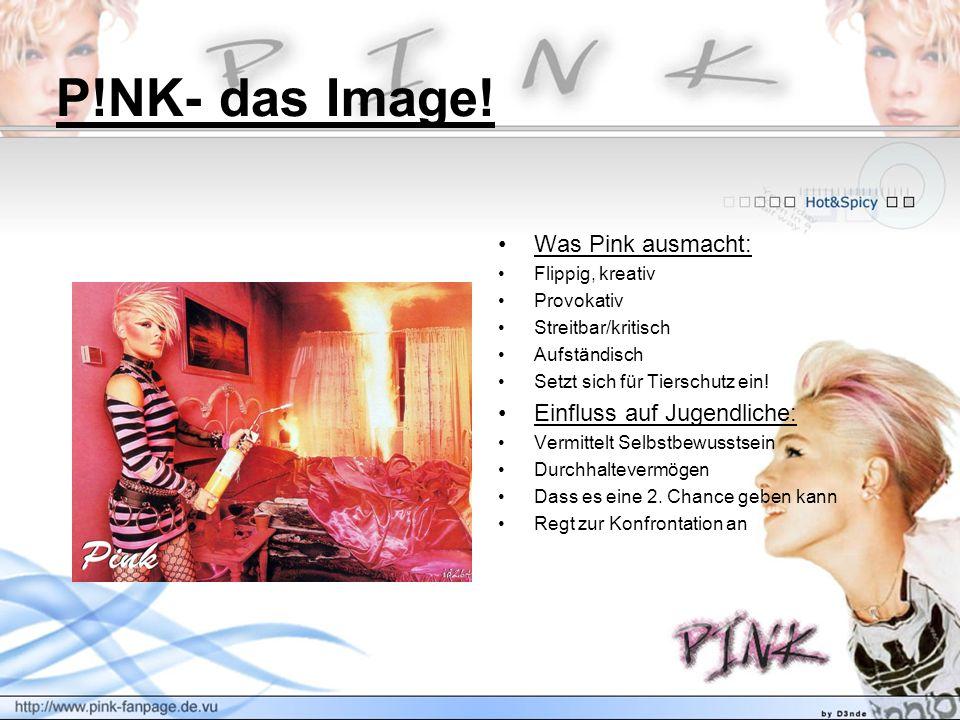P!NK- das Image! Was Pink ausmacht: Flippig, kreativ Provokativ Streitbar/kritisch Aufständisch Setzt sich für Tierschutz ein! Einfluss auf Jugendlich