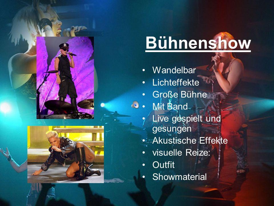 Bühnenshow Wandelbar Lichteffekte Große Bühne Mit Band Live gespielt und gesungen Akustische Effekte visuelle Reize: Outfit Showmaterial