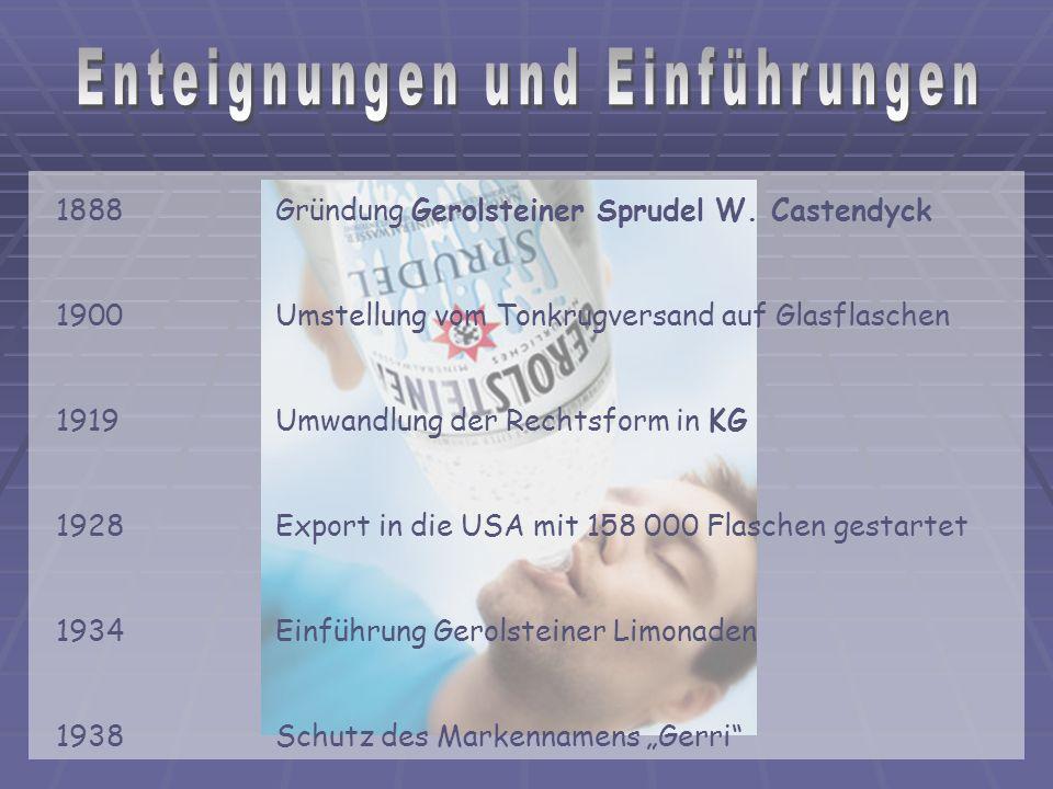1888 Gründung Gerolsteiner Sprudel W.