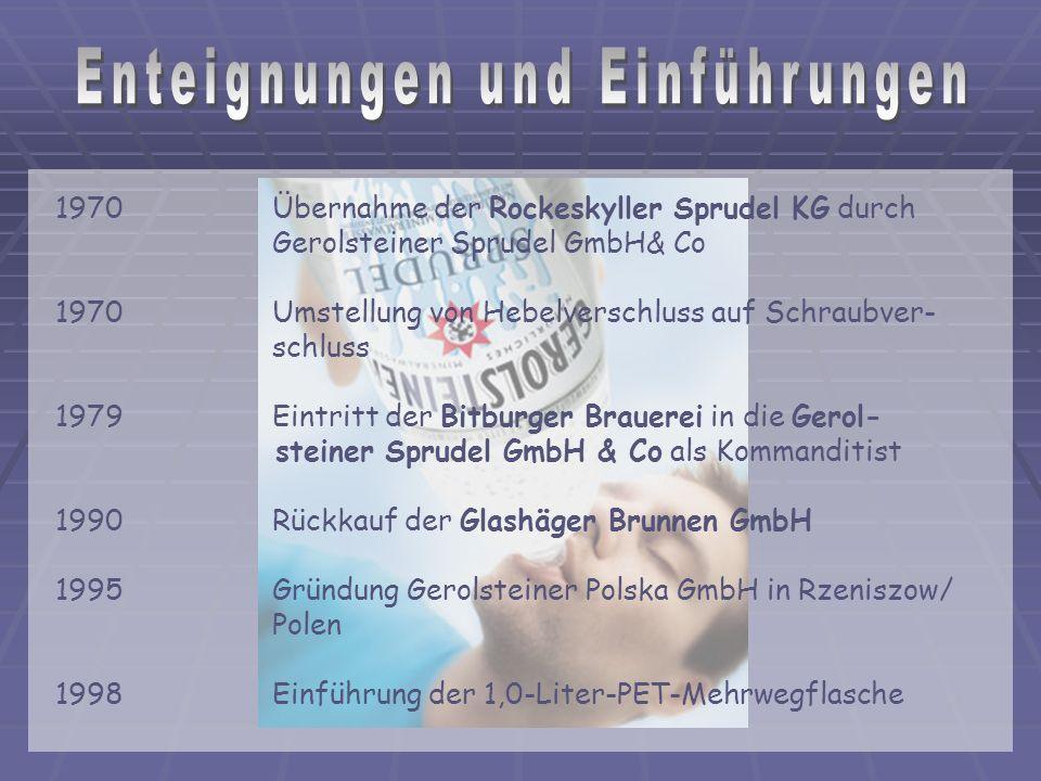1970 Übernahme der Rockeskyller Sprudel KG durch Gerolsteiner Sprudel GmbH& Co 1970 Umstellung von Hebelverschluss auf Schraubver- schluss 1979 Eintritt der Bitburger Brauerei in die Gerol- steiner Sprudel GmbH & Co als Kommanditist 1990 Rückkauf der Glashäger Brunnen GmbH 1995 Gründung Gerolsteiner Polska GmbH in Rzeniszow/ Polen 1998 Einführung der 1,0-Liter-PET-Mehrwegflasche