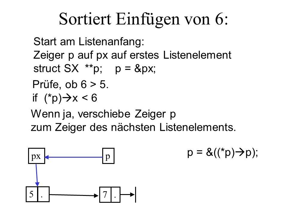 Sortiert Einfügen von 6: ppx 5. 7. Prüfe, ob 6 > 5.