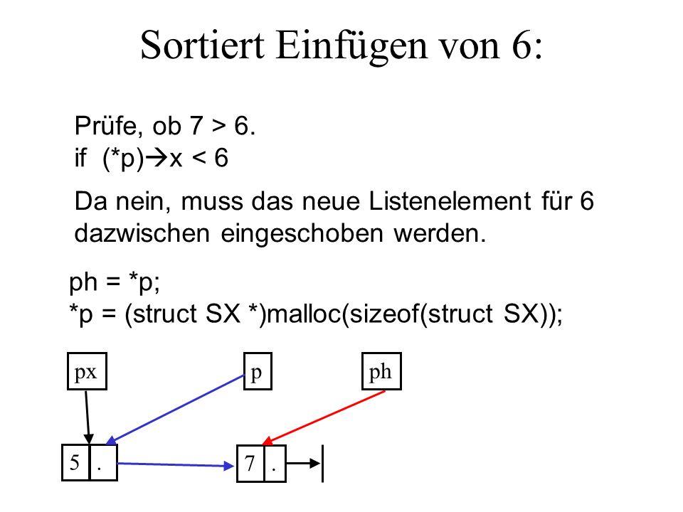 Sortiert Einfügen von 6: ppx 5. 7. Prüfe, ob 7 > 6.