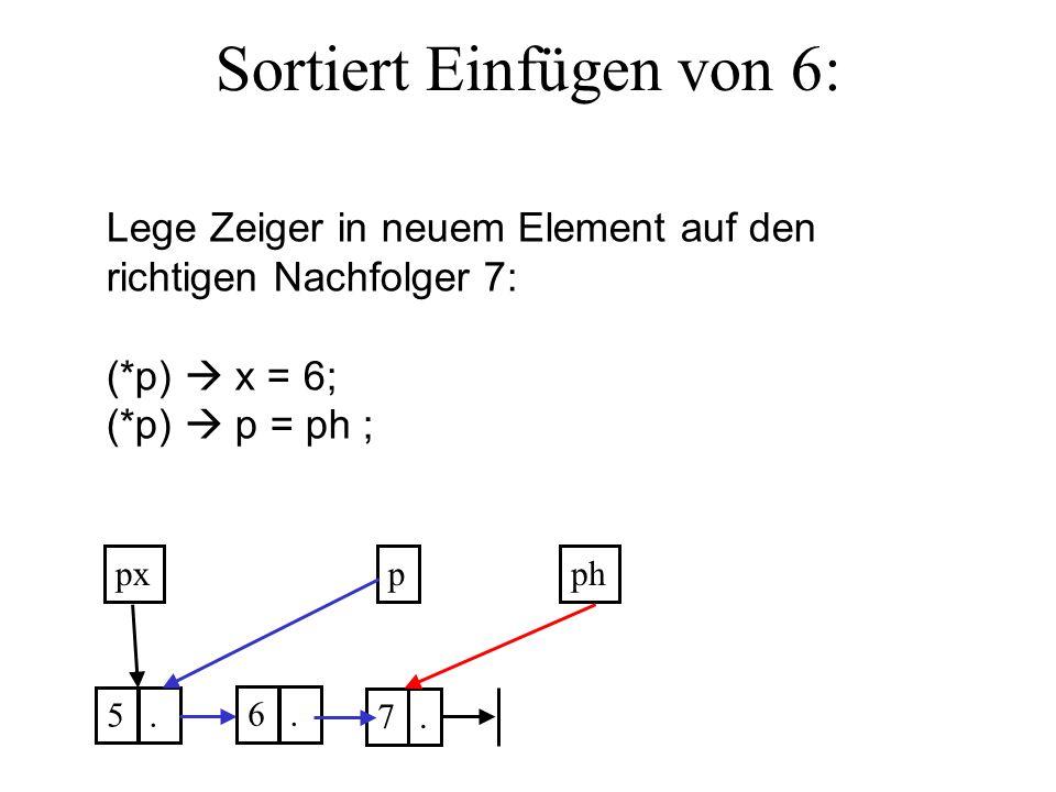 Sortiert Einfügen von 6: ppx 5. 7.