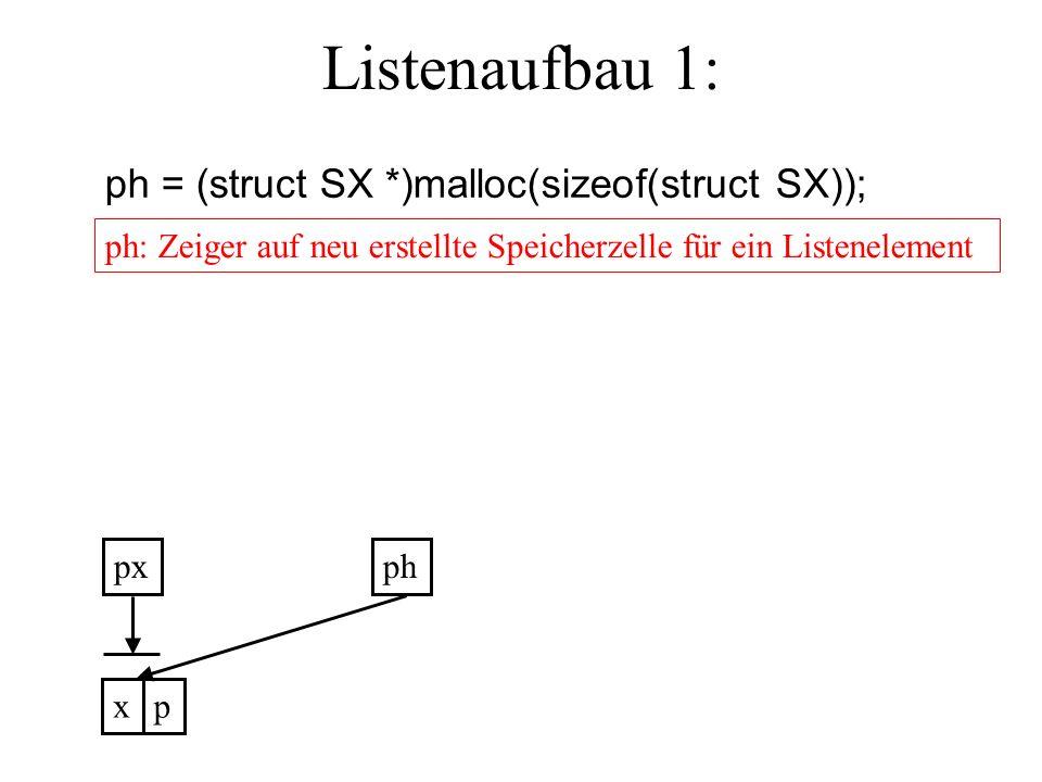 Listenaufbau 1: ph = (struct SX *)malloc(sizeof(struct SX)); ph: Zeiger auf neu erstellte Speicherzelle für ein Listenelement pxph xp
