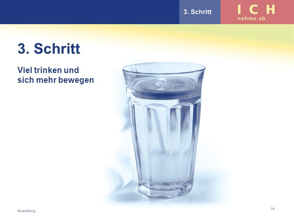 3. Schritt Viel trinken und sich mehr bewegen Kursleitung: 14