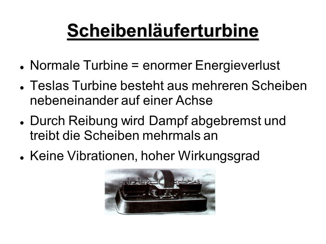 Scheibenläuferturbine Normale Turbine = enormer Energieverlust Teslas Turbine besteht aus mehreren Scheiben nebeneinander auf einer Achse Durch Reibun