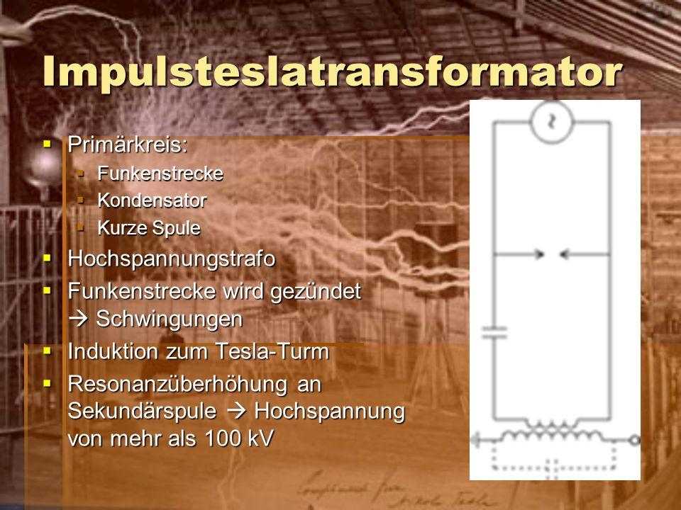 Impulsteslatransformator Primärkreis: Primärkreis: Funkenstrecke Funkenstrecke Kondensator Kondensator Kurze Spule Kurze Spule Hochspannungstrafo Hoch